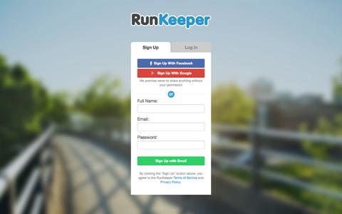 Screenshot of Signup Page runkeeper.com - RunKeeper - Sign Up - captured Oct. 10, 2014