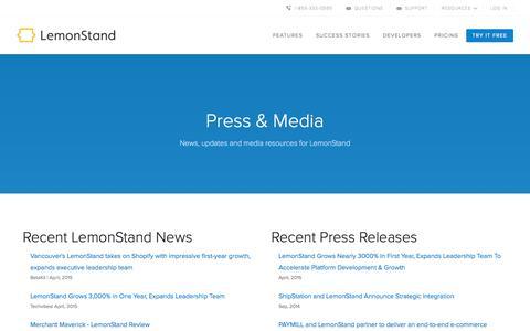 Screenshot of Press Page lemonstand.com - LemonStand Press And Media | LemonStand - captured Nov. 19, 2015