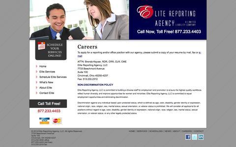 Screenshot of Jobs Page elitereportingagency.com - Careers « Elite Reporting Agency Elite Reporting Agency - captured Oct. 2, 2014