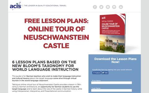 Screenshot of Landing Page acis.com - Online Tour of Neuschwanstein Castle Lesson Plans - captured March 13, 2017