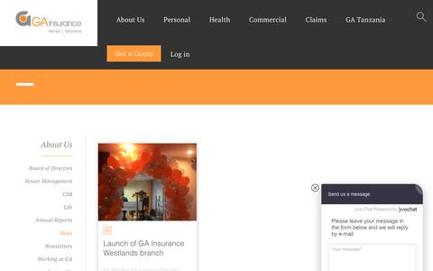 Screenshot of Press Page gakenya.com - News   GA Insurance Limited   GA Insurance Limited - captured Oct. 26, 2018