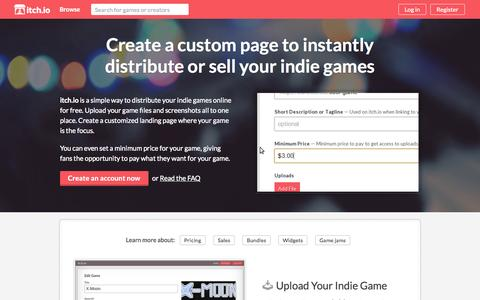 Screenshot of Developers Page itch.io - Sell your indie games online - itch.io - captured Nov. 18, 2015