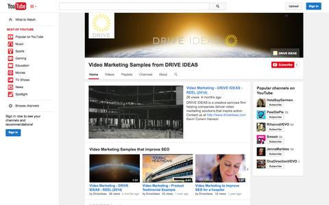 Screenshot of YouTube Page youtube.com - Video Marketing Samples from DRIVE IDEAS  - YouTube - captured Oct. 23, 2014