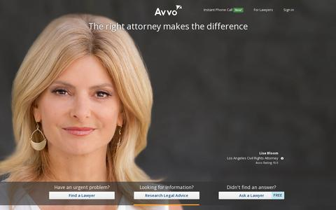 Screenshot of Home Page avvo.com - Avvo.com - The right attorney makes the difference - captured July 11, 2014