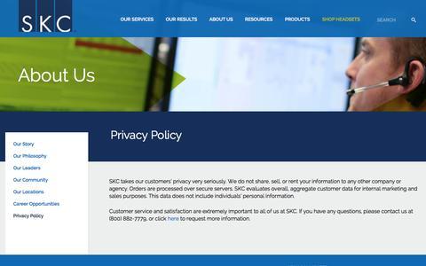 Screenshot of Privacy Page skccom.com - Privacy Policy | SKC - captured Sept. 17, 2014