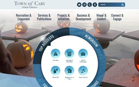 Screenshot of Home Page townofcary.org - Town of Cary | Home - captured Oct. 30, 2017