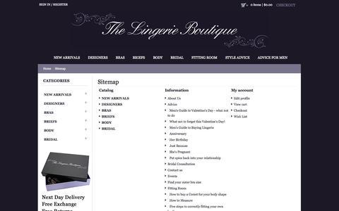 Screenshot of Site Map Page lingerieboutique.com.au - Sitemap - Luxurious Designer Lingerie, bras, briefs & corsets | The Lingerie Boutique - captured Oct. 10, 2014