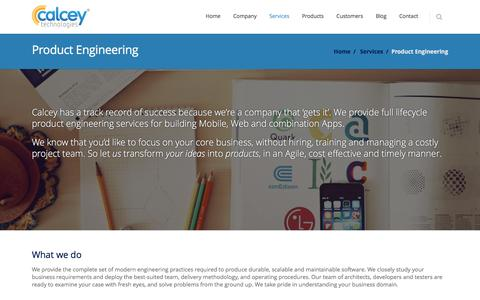 Screenshot of Services Page calcey.com - Product Engineering | Calcey Technologies - captured Jan. 24, 2016