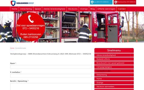 Screenshot of Contact Page bbnbrandwachten.nl - Contact | BBN Brandwachten - captured May 18, 2016