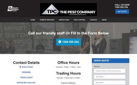 Screenshot of Contact Page thepestcompany.com.au - Contact The Pest Company ® On 1300 552 234 - captured June 14, 2019