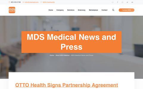 Screenshot of Press Page mdsmedicalsoftware.com - MDS Medical News and Press Releases | Phoenix, Arizona - captured Nov. 9, 2018