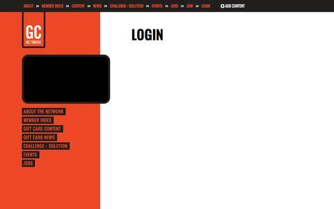 Screenshot of Login Page thegiftcardnetwork.com - The Gift Card Network - captured Nov. 2, 2014
