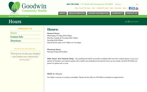 Screenshot of Hours Page goodwinch.org - Hours - Goodwin Community Health - captured Sept. 29, 2018