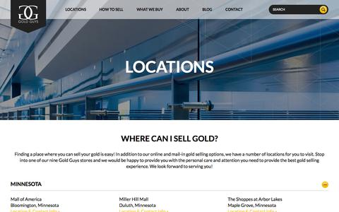 Screenshot of Locations Page goldguys.com - Locations to Sell Gold | Gold Buyers | Your Gold Guys - captured July 23, 2015