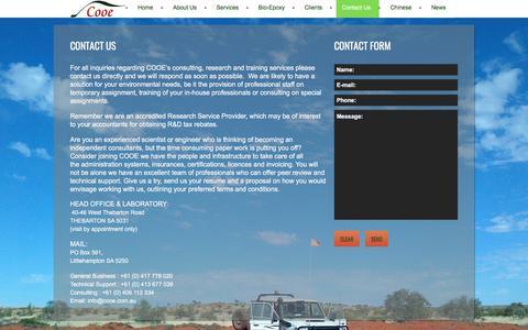 Screenshot of Contact Page cooe.com.au - Contact Us   COOE Pty Ltd - captured July 9, 2017