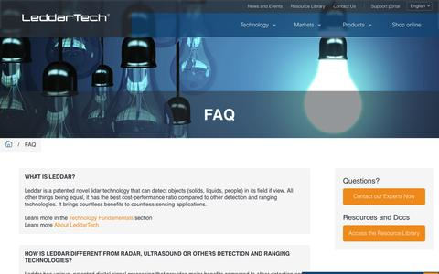 Screenshot of FAQ Page leddartech.com - FAQ - Leddartech - captured July 3, 2016