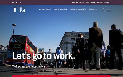 Screenshot of Home Page tig.co.uk - TIG - Managed Services & Cloud Solutions - captured Jan. 23, 2015