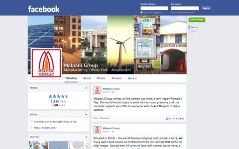 Screenshot of Facebook Page facebook.com - Malpani Group - Sangamner - Manufacturing, Water Park | Facebook - captured Oct. 23, 2014