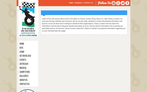 Screenshot of Privacy Page victoryjunction.org - Victory Junction - Contact Us - captured Oct. 7, 2014