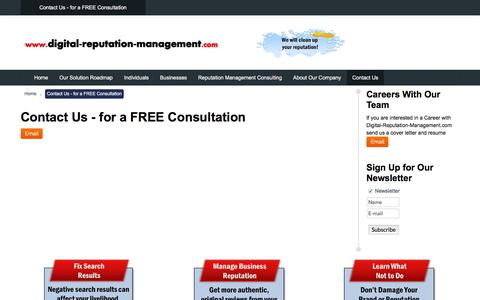 Screenshot of Contact Page digital-reputation-management.com - Contact Us - captured Feb. 9, 2016