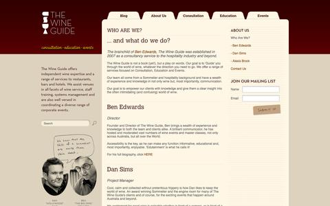 Screenshot of About Page thewineguide.com.au - The Wine Guide Blog - About Us - captured Sept. 26, 2014