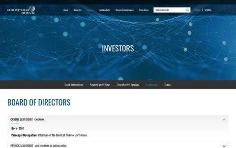 Screenshot of Team Page americamovil.com - América Móvil - Investors - Leadership - Board of Directors - captured Nov. 9, 2018