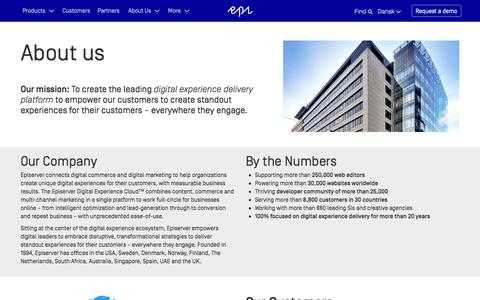 Screenshot of About Page episerver.dk - About Us - Episerver - captured March 2, 2016