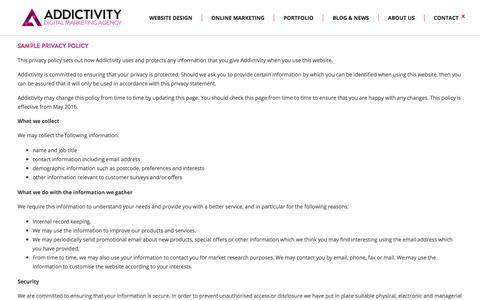 Screenshot of Privacy Page addictivity.com - Professional Website Design Agency | Addictivity - captured July 24, 2016