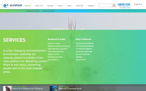 Screenshot of Services Page eutelsat.com - Services - Eutelsat - captured Oct. 3, 2014