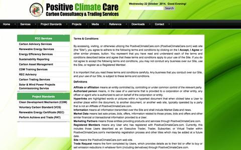 Screenshot of Terms Page positiveclimatecare.com - Terms & Conditions - captured Oct. 22, 2014
