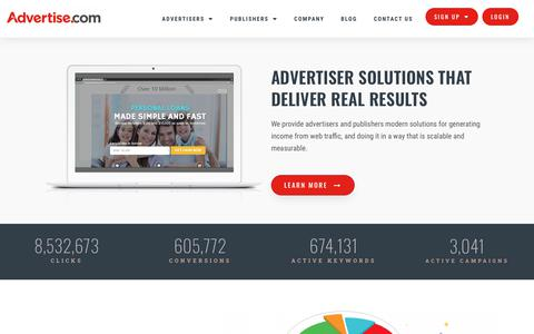 Screenshot of Home Page advertise.com - Advertise.com | Online Ad Network | Advertiser Solutions with Real Results - captured Jan. 14, 2020