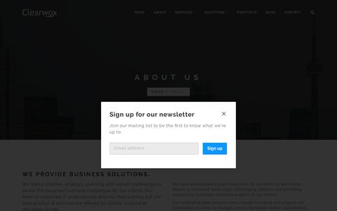 Screenshot of About Page clearwox.com - About Us - Clearwox System - captured July 18, 2018