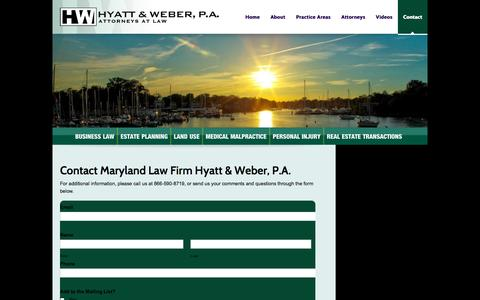 Screenshot of Contact Page hwlaw.com - Contact Hyatt and Weber | Baltimore MD Personal Injury Law Firm | Hyatt & Weber - captured Oct. 3, 2014