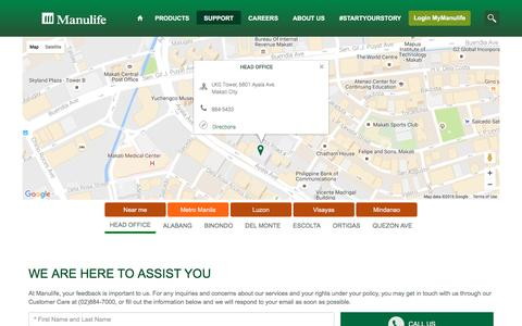 Screenshot of Locations Page manulife.com.ph - Find and Contact Us - captured Aug. 23, 2016
