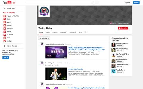 Screenshot of YouTube Page youtube.com - TestifyDigital  - YouTube - captured Nov. 3, 2014