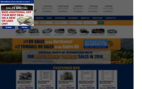 Screenshot of Home Page bluedogrv.com - ID RV Dealer | WA RV Dealer | New and Used RVs ID, WA, OR - captured Jan. 6, 2016