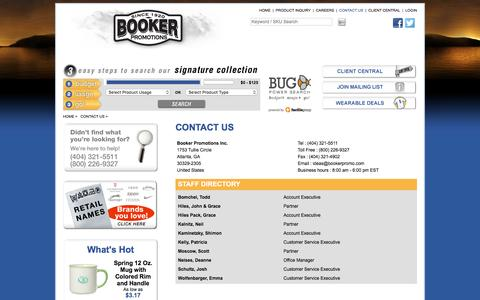 Screenshot of Contact Page bookerpromo.com - Booker Promotions Inc. - Promotional products Atlanta - Corporate gifts Atlanta - Promotional Items Atlanta- Promotional Ideas-Corporate Awards-Corporate Gift Ideas-Products - captured Nov. 23, 2016