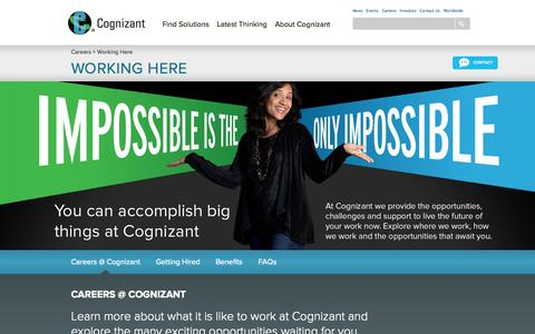 Screenshot of FAQ Page cognizant.com - Working at Cognizant - Global Careers with Cognizant, IT Career Benefits - captured Sept. 18, 2014