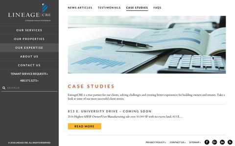 Screenshot of Case Studies Page lineagecre.com - Case Studies | LineageCRE - captured July 20, 2018