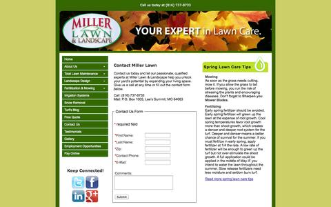 Screenshot of Contact Page millerlawn.com - Contact Miller Lawn Care in Kansas and Missouri - captured Oct. 27, 2014