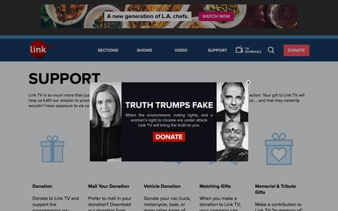 Screenshot of Support Page linktv.org - Support | Link TV - captured May 19, 2017