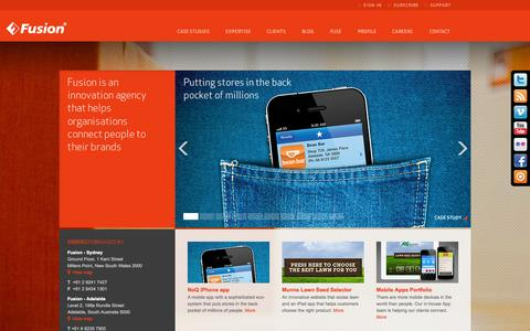 Screenshot of Home Page fusion.com.au - Fusion - Innovation agency that helps organisations connect people to their brands. Marketing and Advertising Strategy, Web Design and Development, Brand Communications. Adelaide, Australia - captured Sept. 30, 2014