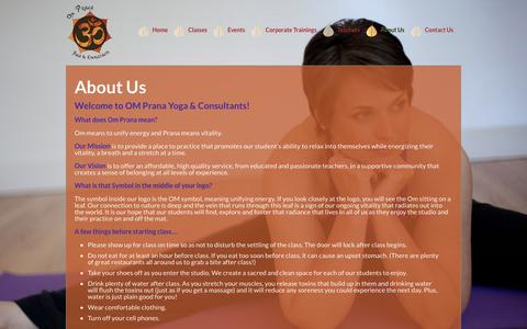 Screenshot of About Page ompranayoga.com - About Us | Om Prana Yoga - captured Oct. 26, 2014