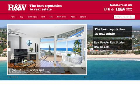 Screenshot of Home Page rwnoosa.com.au - Noosa Real Estate - Property For Sale & Investment | R&W Noosa - captured Sept. 19, 2014
