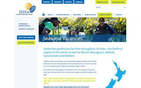 Screenshot of Locations Page seeka.co.nz - Seeka - Seasonal Vacancies | Packhouse & Coolstore Facilities - captured Oct. 27, 2014