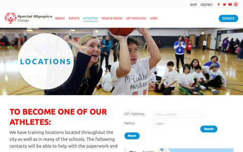 Screenshot of Locations Page sochicago.org - Locations - Special Olympics Chicago - captured Oct. 19, 2018