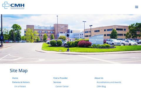 Screenshot of Site Map Page cmhregional.com - Site Map   Clinton Memorial Hospital - captured Sept. 28, 2018