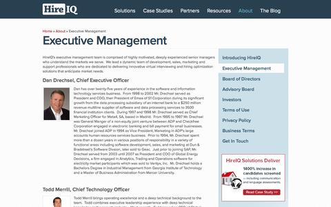 Screenshot of Team Page hireiqinc.com - Executive Management 							 | 				Digital Interviewing + Predictive Analytics = Improved Talent Performance. - captured Sept. 16, 2014
