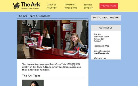Screenshot of Team Page ark.ie - About The Ark | The Ark Team & Contacts | The Ark, Dublin. Arts & Entertainment for children - captured Feb. 28, 2016