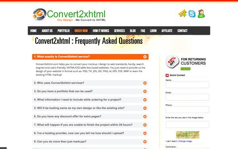 Screenshot of FAQ Page convert2xhtml.com - » FAQ's - Convert2xhtml.com - captured Sept. 22, 2014